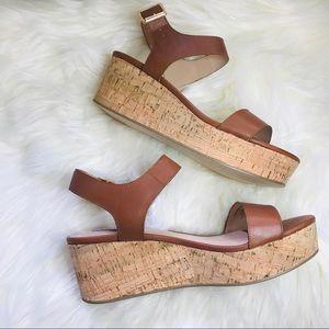 Steve Madden Cognac Leather Breathe Wedge Sandal